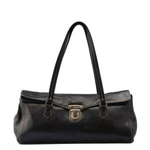 Prada Black Leather Flap Shoulder Bag 135708