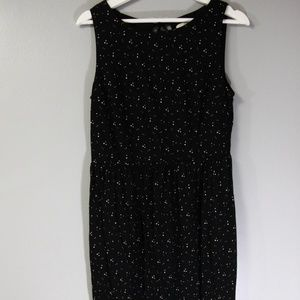 Loft Black Beige Polka Dot Keyhole Dress Sz M