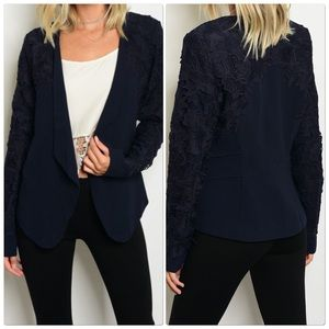 Navy blazer with crochet detail sleeves