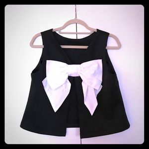 ASOS top with open back & white bow acccent