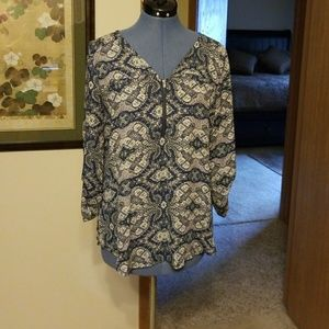 Blue polyester print 3/4 sleeve blouse
