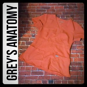 Grey's Anatomy Scrub Top Rust Burnt Orange