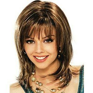 High quality pretty Median straight brown wig