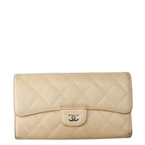 Chanel Beige Quilted Leather Snap Wallet 135699