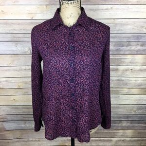 LOFT Sz XS Navy Blue Pink Anchor Print Blouse