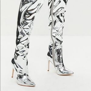 Over The Knee Silver High Boots