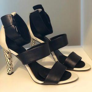 CALVIN KLEIN White & Black Leather Strapped Heels