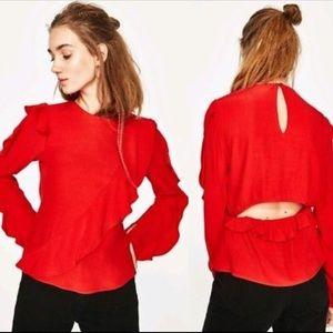 Zara red frill open back top