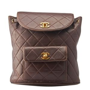 Chanel Brown Quilted Leather Backpack 135232