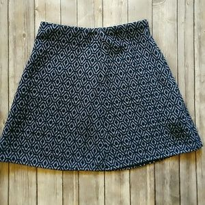 Zara blue geometric print mini skirt elastic waist