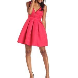 Minuet pocket Deep-V fit and flare dress