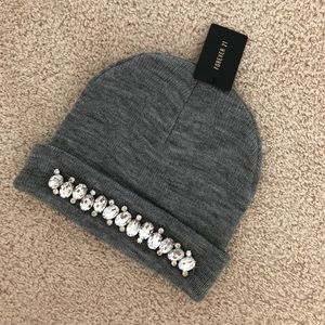 Forever 21 gray rhinestone beanie scully cap