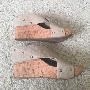 Lucky cork scrappy sandals beige size 8