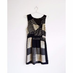 Leifsdottir Black + Cream Geo Silk Dress sz 4