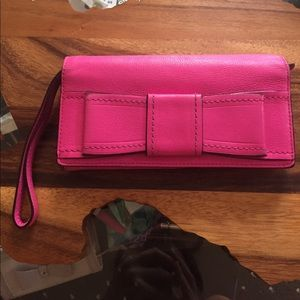 Kate Spade bow wristlet wallet hot pink