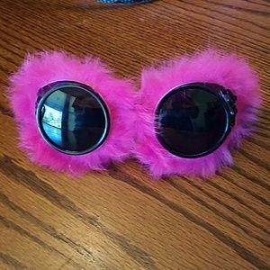 Fuzzy pink goggle sunglasses