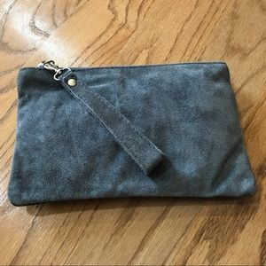 Suede cosmetic bag wristlet purse