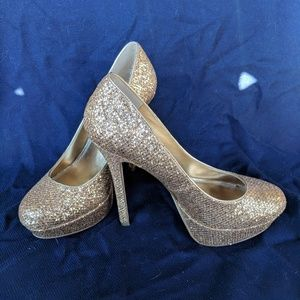Bakers gold sparkle platform heels