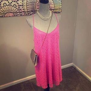 Lilly Pulitzer DUSK dress pop pink sparkly lace