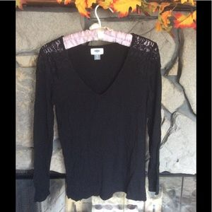 Black V-Neck Lace Shoulder Top