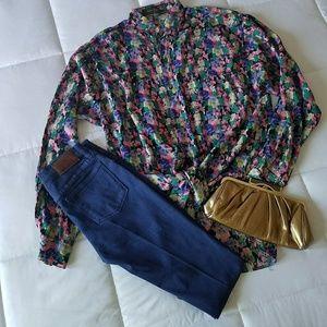 Multi color brush stroke long sleeve shirt
