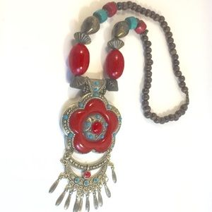 Statement Necklace w/ Wooden Beads in Red & Teal
