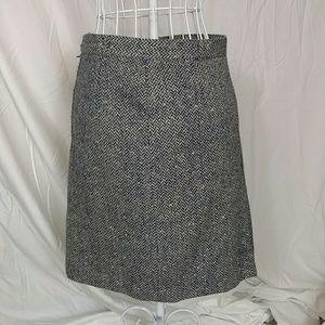 Vintage blue and cream herringbone skirt small