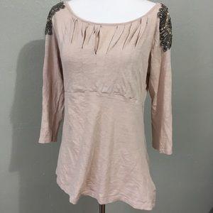 Anthropologie Deletta Embellished Shoulder Blouse