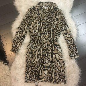 DVF leopard dress shirt in light silk