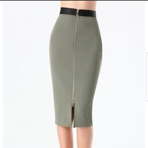 Bebe Ottoman Zip Midi Skirt