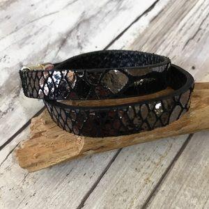 Jewelry - Black Leather bracelet with metallic snake print
