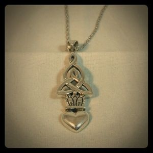 Sterling Silver Claddagh and Trinity Knot Pendant