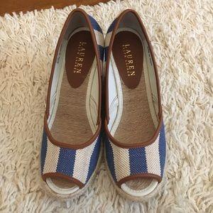 Ralph Lauren burlap stripe wedge with peep toe