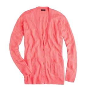 J CREW linen cable knit lightweight cardigan M