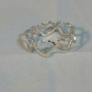 Sterling Silver Eternity Style Heart Ring