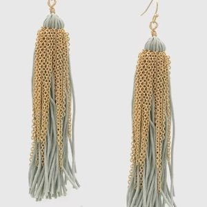 Gray and gold tassel fashion statement earrings