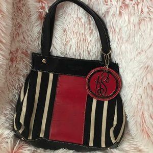 Kate Spade Black Red Purse Handbag Striped