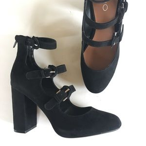 NEW ALDO black leather high platform chunky heel 7