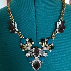 J. Crew Statement Necklace in brass/teal/burgundy