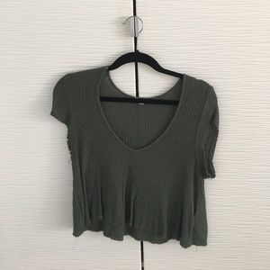 UO distressed green ribbed tee