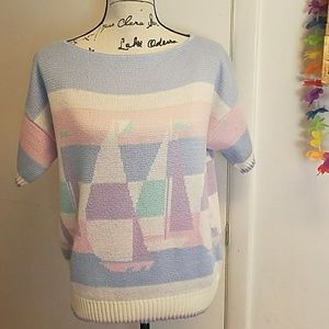 Tops - Sailboat Knit Pastel Short Sleeve Sweater Top