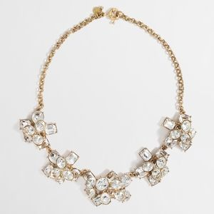J CREW STONE FLOWER CRYSTAL CLUSTER NECKLACE