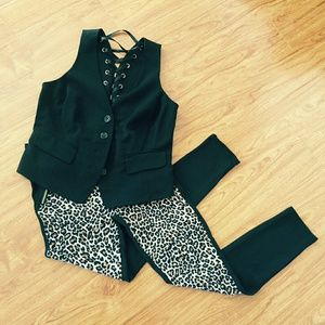 INC International Concepts Black Lace Up Back Vest