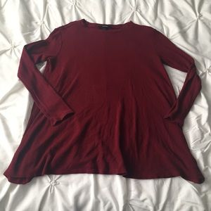 Forever 21 Maroon Waffle Print Long Sleeve Shirt