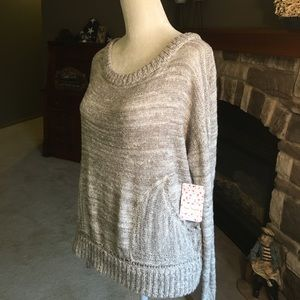 Free People white comb scoop neck sweater
