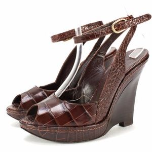 Max Mara Croc Embossed Leather Ankle Wrap Wedges
