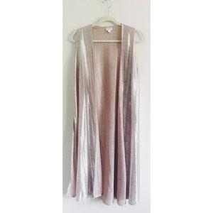 Metallic silver rose gold duster long vest
