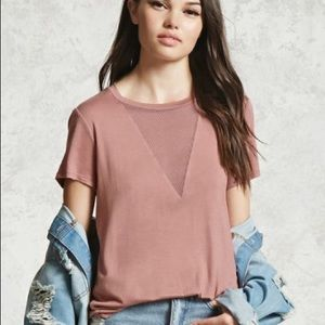 Forever 21 mesh panel jersey top