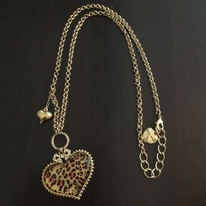 Betsey Johnson leopard heart gold necklace