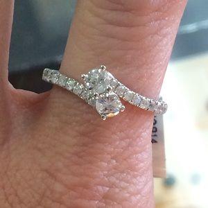 14k Gold 2 stone Forever Us Diamond ring